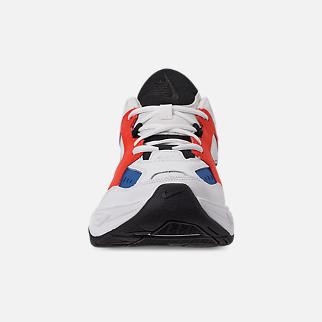 Front view of Men's Nike M2K Tekno Casual Shoes in Summit White/Black/Team Orange
