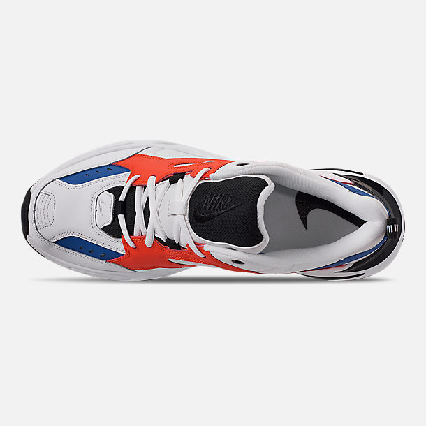 Top view of Men's Nike M2K Tekno Casual Shoes in Summit White/Black/Team Orange