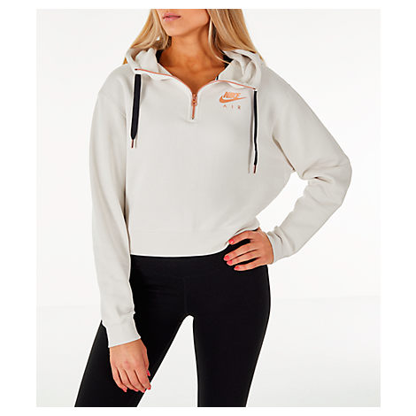 Women'S Sportswear Air Crop Half-Zip Hoodie, White in Ivory