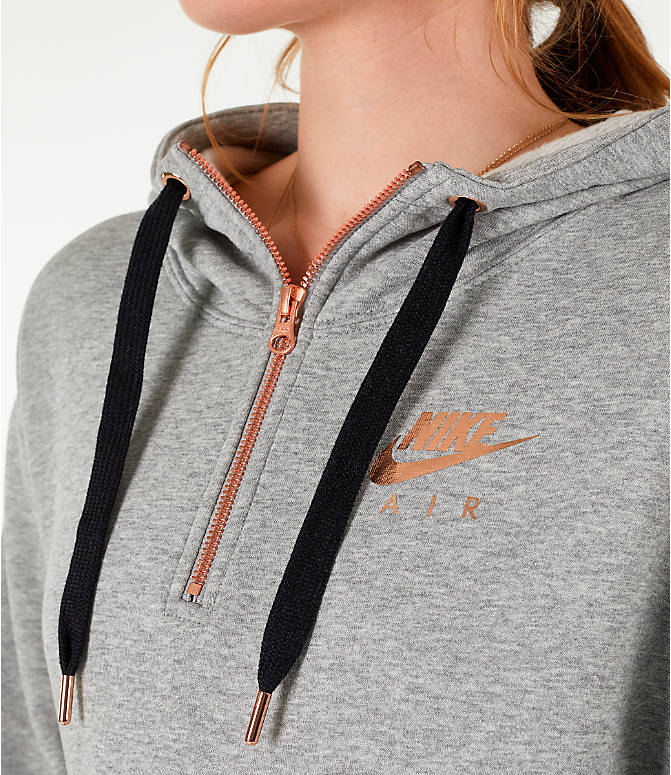 Detail 1 view of Women's Nike Sportswear Air Crop Half-Zip Hoodie in Grey/Rose Gold