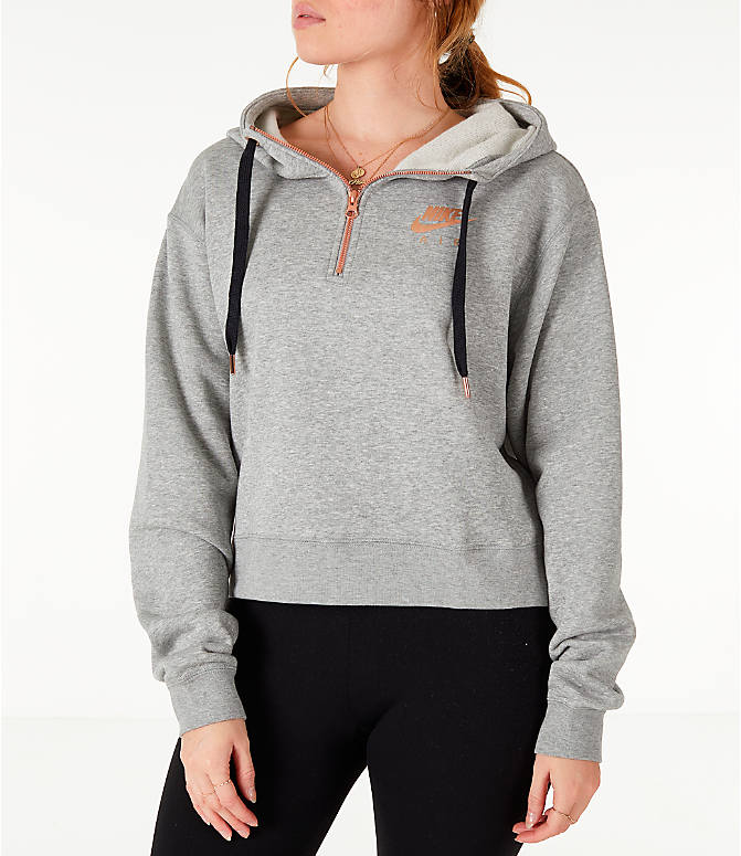 Front view of Women's Nike Sportswear Air Crop Half-Zip Hoodie in Grey/Rose Gold