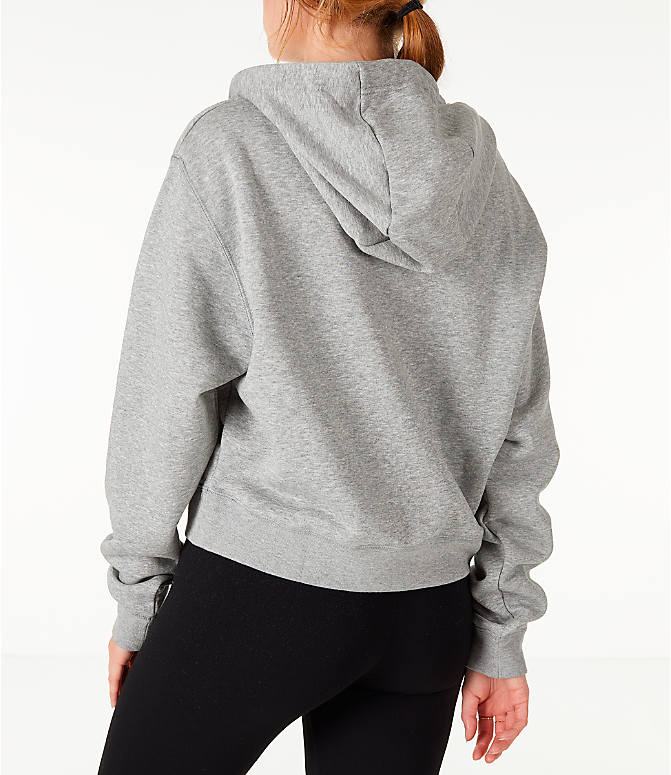 Back Left view of Women's Nike Sportswear Air Crop Half-Zip Hoodie in Grey/Rose Gold