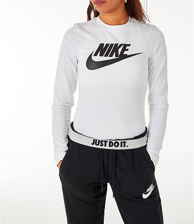 Detail 2 view of Women's Nike Sportswear Essential Long-Sleeve Bodysuit in White/Black