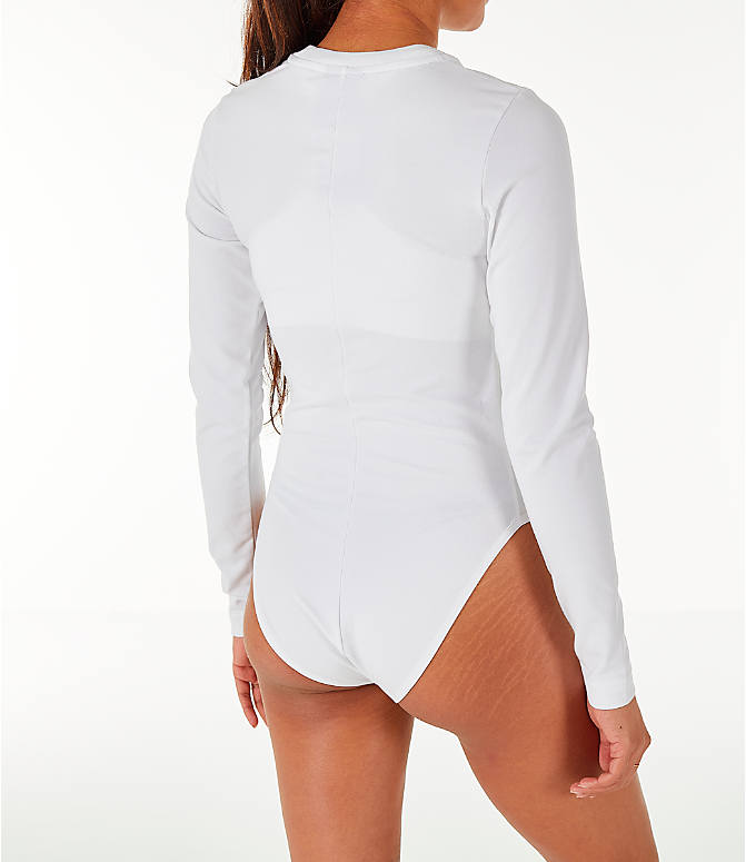Back Right view of Women's Nike Sportswear Essential Long-Sleeve Bodysuit in White/Black