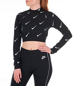 Women's Nike Sportswear Metallic Long-Sleeve Crop Top