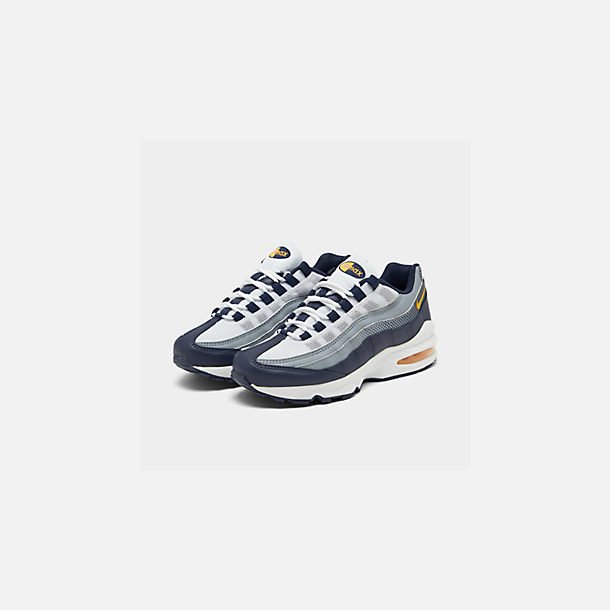 Three Quarter view of Boys' Big Kids' Nike Air Max 95 RF Casual Shoes in Midnight Navy/Laser Orange/Pure Platinum