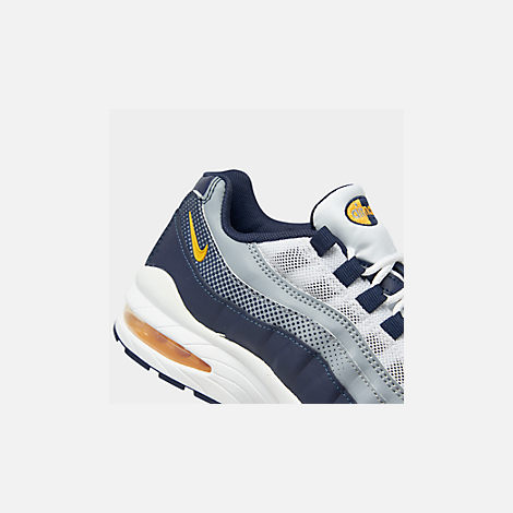 Front view of Boys' Big Kids' Nike Air Max 95 RF Casual Shoes in Midnight Navy/Laser Orange/Pure Platinum