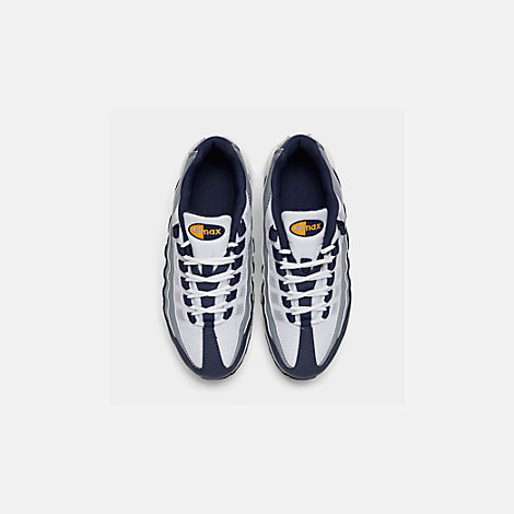 Back view of Boys' Big Kids' Nike Air Max 95 RF Casual Shoes in Midnight Navy/Laser Orange/Pure Platinum