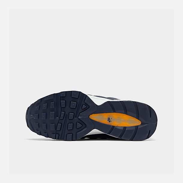 Bottom view of Boys' Big Kids' Nike Air Max 95 RF Casual Shoes in Midnight Navy/Laser Orange/Pure Platinum