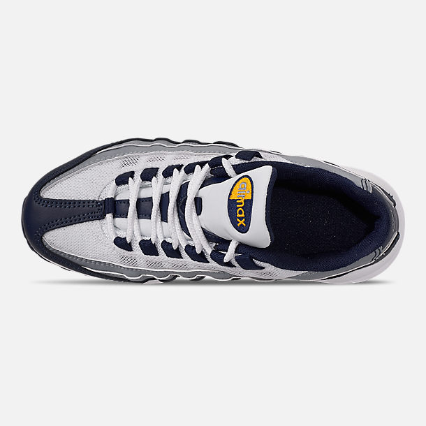 Top view of Boys' Big Kids' Nike Air Max 95 RF Casual Shoes in Midnight Navy/Laser Orange/Pure Platinum