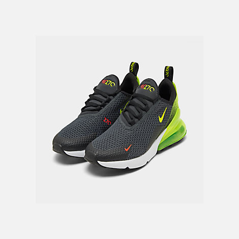 Three Quarter view of Big Kids' Nike Air Max 270 RF Casual Shoes in Anthracite/Volt/Black/Bright Crimson