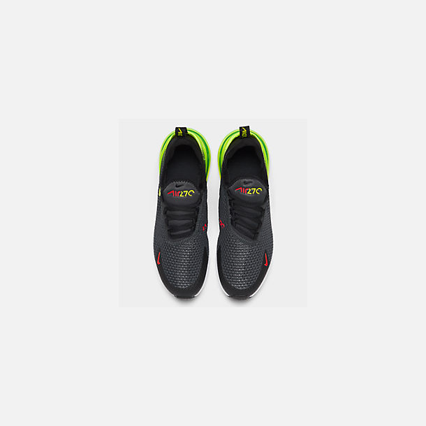 Back view of Big Kids' Nike Air Max 270 RF Casual Shoes in Anthracite/Volt/Black/Bright Crimson