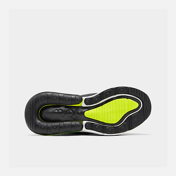 Bottom view of Big Kids' Nike Air Max 270 RF Casual Shoes in Anthracite/Volt/Black/Bright Crimson