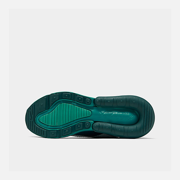 Bottom view of Big Kids' Nike Air Max 270 RF Casual Shoes in White/Spirit Teal/Nightshade