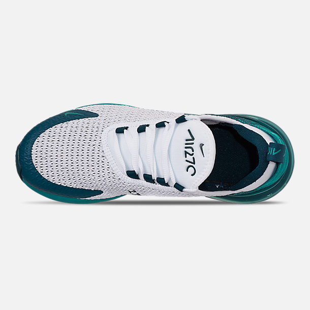 Top view of Big Kids' Nike Air Max 270 RF Casual Shoes in White/Spirit Teal/Nightshade