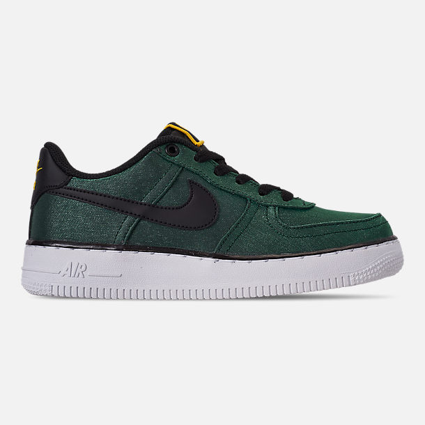 Right view of Girls' Big Kids' Nike Air Force 1 LV8 Shift Casual Shoes in Aurora Green/Black/Tour Yellow/White