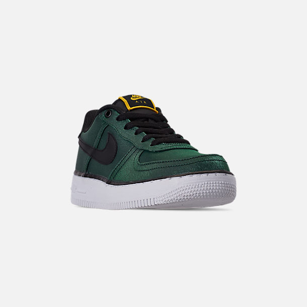 Three Quarter view of Girls' Big Kids' Nike Air Force 1 LV8 Shift Casual Shoes in Aurora Green/Black/Tour Yellow/White