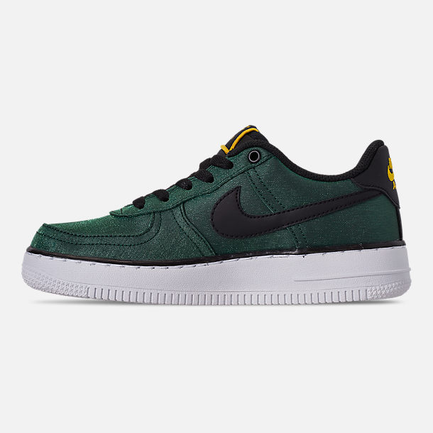 Left view of Girls' Big Kids' Nike Air Force 1 LV8 Shift Casual Shoes in Aurora Green/Black/Tour Yellow/White