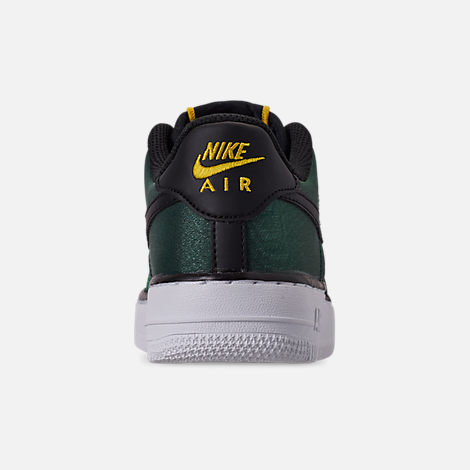 Back view of Girls' Big Kids' Nike Air Force 1 LV8 Shift Casual Shoes in Aurora Green/Black/Tour Yellow/White