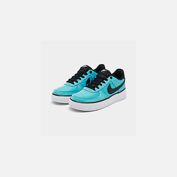 Three Quarter view of Girls' Big Kids' Nike Air Force 1 LV8 Shift Casual Shoes in Blue Gaze/Black/Platinum Tint