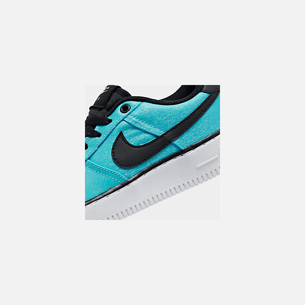 Front view of Girls' Big Kids' Nike Air Force 1 LV8 Shift Casual Shoes in Blue Gaze/Black/Platinum Tint
