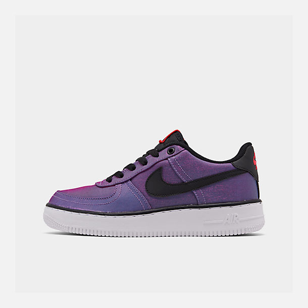 Right view of Girls' Big Kids' Nike Air Force 1 LV8 Shift Casual Shoes in Hyper Violet/Black/Racer Blue/White