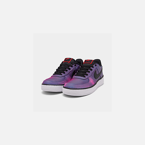 Three Quarter view of Girls' Big Kids' Nike Air Force 1 LV8 Shift Casual Shoes in Hyper Violet/Black/Racer Blue/White