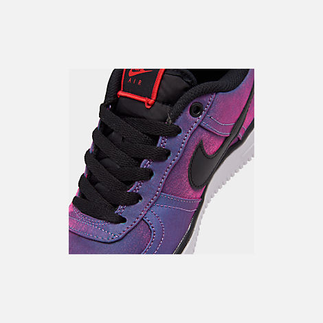Front view of Girls' Big Kids' Nike Air Force 1 LV8 Shift Casual Shoes in Hyper Violet/Black/Racer Blue/White