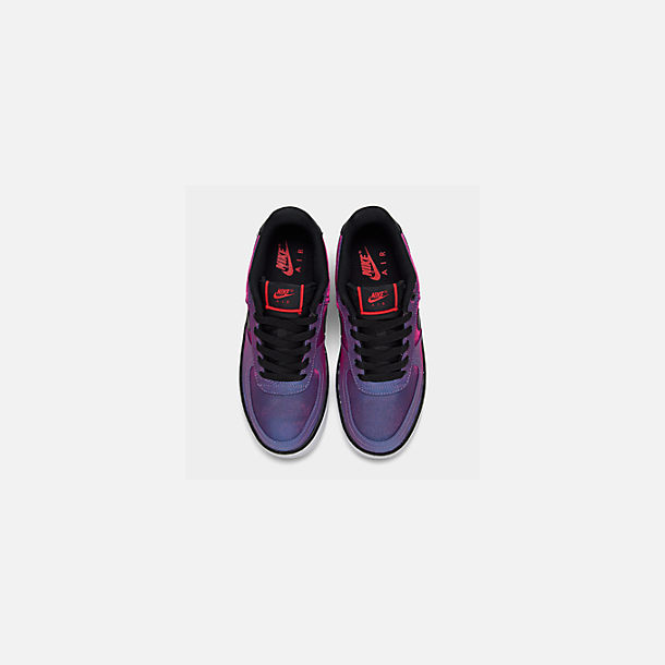 Back view of Girls' Big Kids' Nike Air Force 1 LV8 Shift Casual Shoes in Hyper Violet/Black/Racer Blue/White