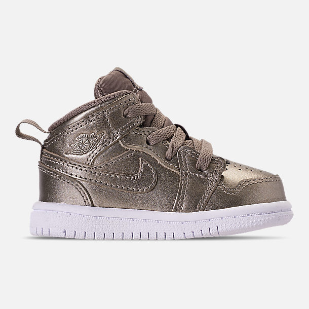 Right view of Girls' Toddler Air Jordan 1 Mid Casual Shoes in Sepia Stone/White/Noble Red