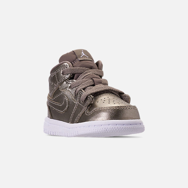 Three Quarter view of Girls' Toddler Air Jordan 1 Mid Casual Shoes in Sepia Stone/White/Noble Red
