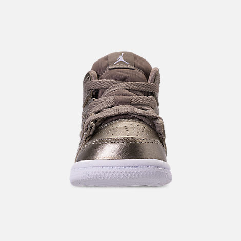 Front view of Girls' Toddler Air Jordan 1 Mid Casual Shoes in Sepia Stone/White/Noble Red