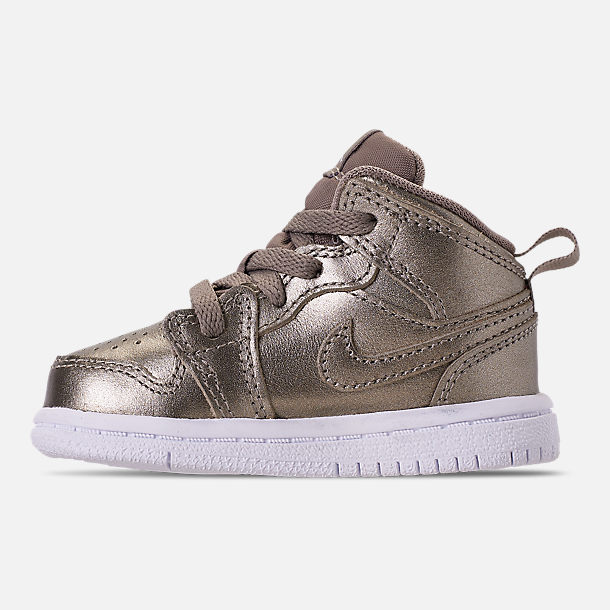Left view of Girls' Toddler Air Jordan 1 Mid Casual Shoes in Sepia Stone/White/Noble Red