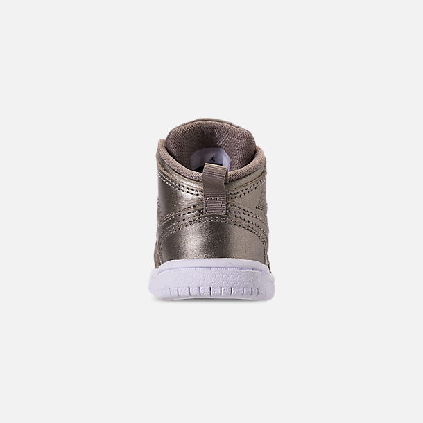 Back view of Girls' Toddler Air Jordan 1 Mid Casual Shoes in Sepia Stone/White/Noble Red