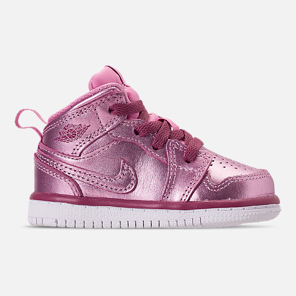 Right view of Girls' Toddler Air Jordan 1 Mid Casual Shoes in Pink Rise/White/Noble Red