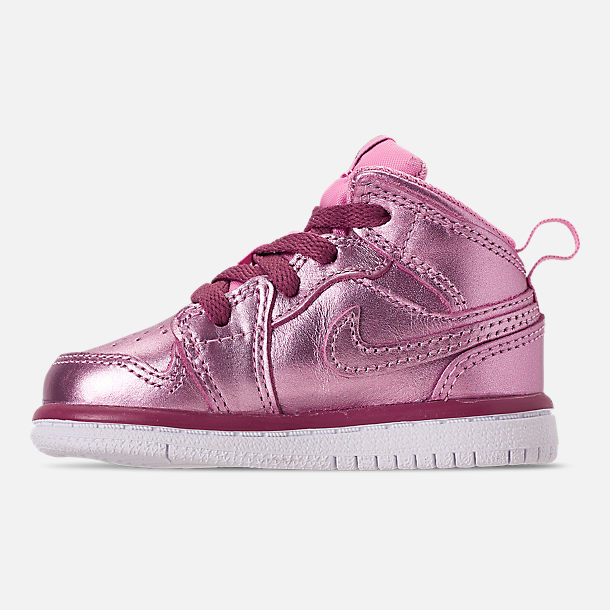 Left view of Girls' Toddler Air Jordan 1 Mid Casual Shoes in Pink Rise/White/Noble Red