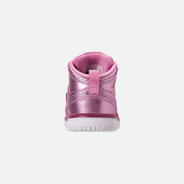 Back view of Girls' Toddler Air Jordan 1 Mid Casual Shoes in Pink Rise/White/Noble Red