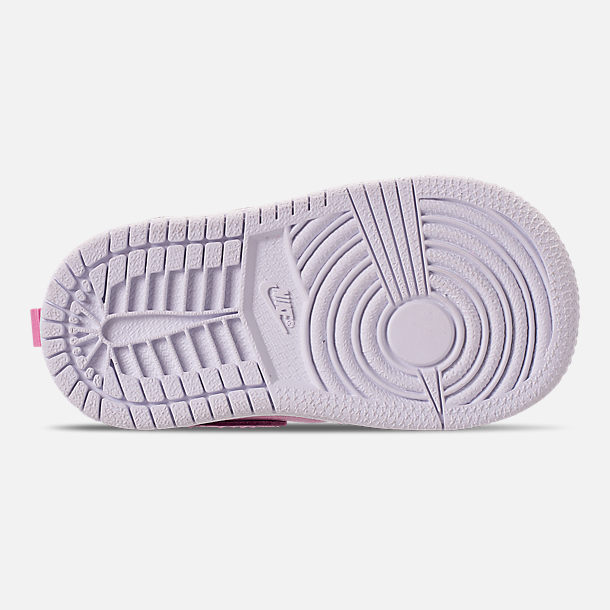 Bottom view of Girls' Toddler Air Jordan 1 Mid Casual Shoes in Pink Rise/White/Noble Red
