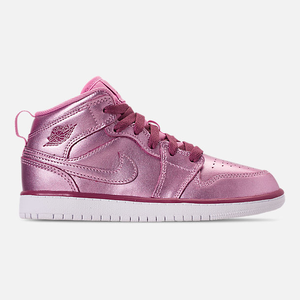 Right view of Girls' Little Kids' Air Jordan 1 Mid SE Casual Shoes in Pink Rose/White/Noble Red