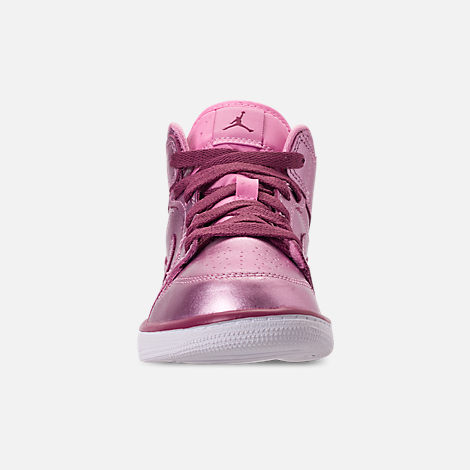 Front view of Girls' Little Kids' Air Jordan 1 Mid SE Casual Shoes in Pink Rose/White/Noble Red