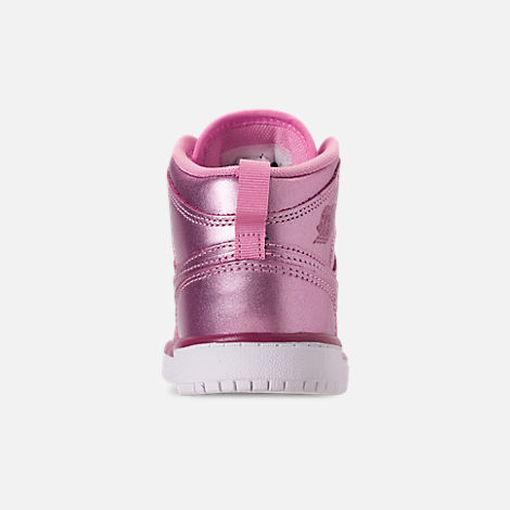 Back view of Girls' Little Kids' Air Jordan 1 Mid SE Casual Shoes in Pink Rose/White/Noble Red
