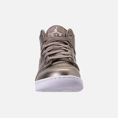 9b1c557b680b88 Front view of Girls  Big Kids  Air Jordan 1 Mid SE Casual Shoes in