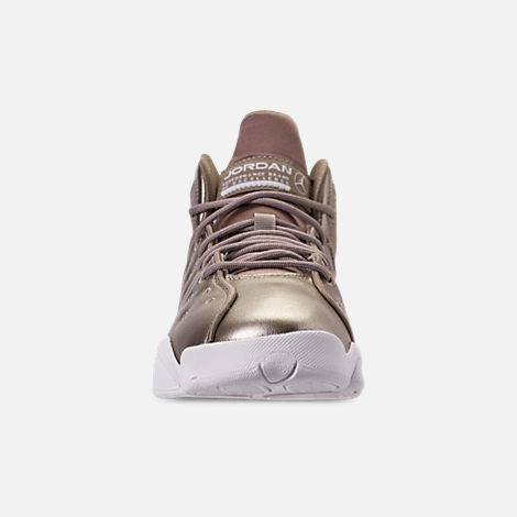 Front view of Girls' Big Kids' Jordan Jumpman Team II SE Basketball Shoes in Sepia Stone/Sepia Stone/White/Noble