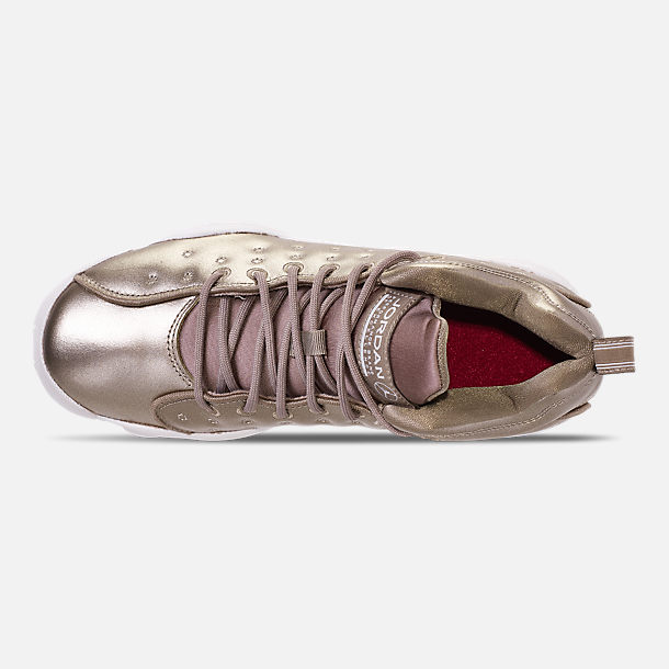 Top view of Girls' Big Kids' Jordan Jumpman Team II SE Basketball Shoes in Sepia Stone/Sepia Stone/White/Noble
