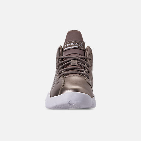 Front view of Girls' Little Kids' Jordan Jumpman Team II SE Basketball Shoes in Sepia Stone/Sepia Stone/White/Noble