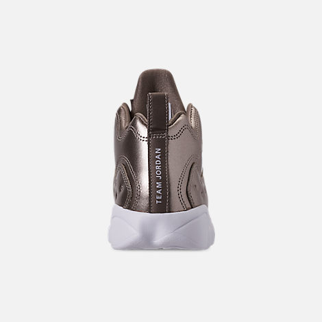 Back view of Girls' Little Kids' Jordan Jumpman Team II SE Basketball Shoes in Sepia Stone/Sepia Stone/White/Noble