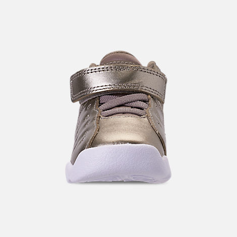 Front view of Girls' Toddler Jordan Jumpman Team II SE Basketball Shoes in Sepia Stone/Sepia Stone/White/Noble