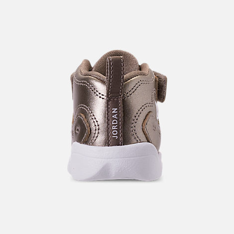 Back view of Girls' Toddler Jordan Jumpman Team II SE Basketball Shoes in Sepia Stone/Sepia Stone/White/Noble