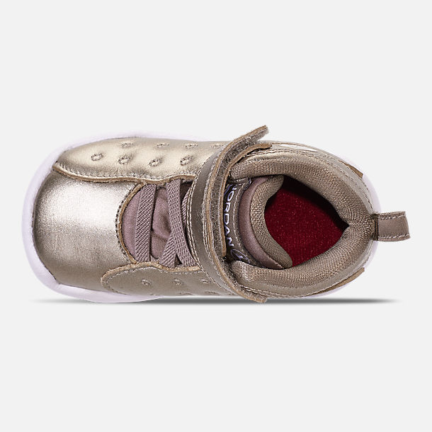Top view of Girls' Toddler Jordan Jumpman Team II SE Basketball Shoes in Sepia Stone/Sepia Stone/White/Noble