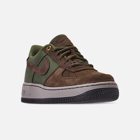 Three Quarter view of Boys' Big Kids' Nike Air Force 1 Premier Casual Shoes in Baroque Brown/Medium Olive/Army Olive/Medium Olive